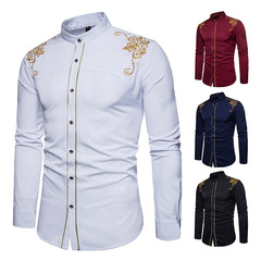 Explosion promotion good quality Fashion Men Casual Shirts Men  Dress Wedding Clothes Evening Suit white s (45kg-50kg)