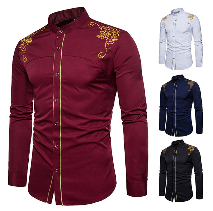 Explosion promotion, good quality and cheap, crazy purchase Fashion Men Casual Shirts Men  Dress red l