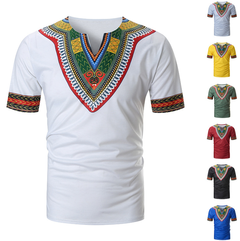 African Unique Men Casual Short Sleeve T Shirts V-neck Slim Fit Tops Summer limited purchase, yellow xxl 100%cotton