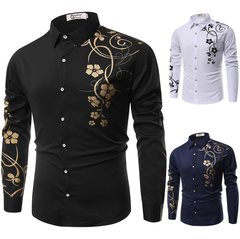 Generic Men Dress Fashion Gold Floral Shirt Long Tribal Print Color Flower African deep blue L (58KG-65KG)