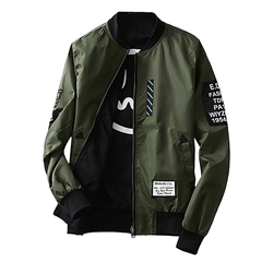 Fashion Fashion Wind Breaker Men Jacket With Patches Both Side Wear Thin Bomber Jacket Coat green m
