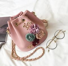 Low-price crazy purchase, time limit of 3 days! Fashion One-shoulder oblique Flower handbag pink free one