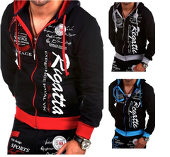 New Mens Dress Health Clothes European Style Leisure Fleece Cardigan Hooded Jacket coat Red s  (45kg-50kg)