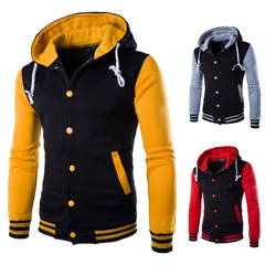 2019 Couple Csual Hooded Baseball Coat Men Patchwork Hoody Fleece Sport Sweatshirt Hot Classic Yellow 4xl  (88kg-100kg)
