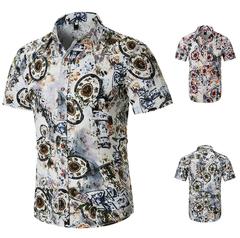Fashion Men's Shirt Short Sleeve  Dress  Brand Casual  Business Style 100%-Cotton Check Pattern SF-03 S (45KG-50KG)