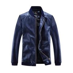 Fashion Large Size Men's Jacket Baseball Collar Pure Four Button Coat Youth Pilot Slim Deep Blue s