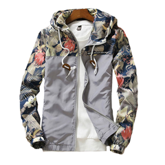 Mens Jacket Csual Thin Hooded Jacket Wind Breaker Hoodies Men Outdoor Wear Youth Fashion Loose Tops White S (45KG-50KG)