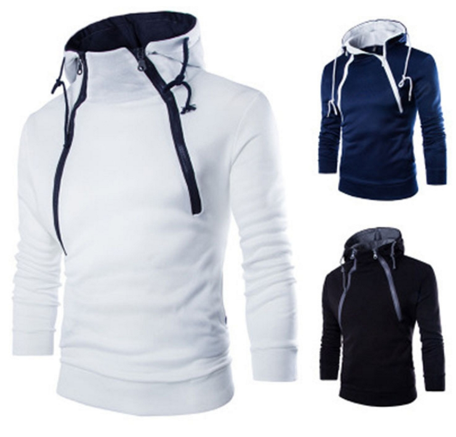 fa491d7fed5 Hoodies Fashion Front Double Zipper Design Thickened Men Sweatshir ...