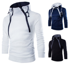 Hoodies Fashion Front Double Zipper Design Thickened Men Sweatshir Sports Pullover Plus Size   Coat White S (45KG-50KG)