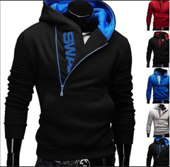 5 Colors Jacket Quality Cotton zipper sweater Hot Sale Men's Winter Warm Collar Cap HoodiesTracksuit black and blue m  (50kg-58kg)