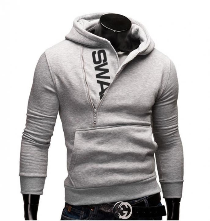 Quality Cotton zipper sweater Hot Sale New Men's Winter Warm Collar Cap Hoodies Tracksuit  5 Colors gray xl  (65kg-72kg)
