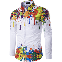 Men's Graffiti Print Long Sleeve Shirt Farb-Tintendruck Selbst-Anbau-Modelle Herrenhemden M-3XL ZT-01 xl (65kg-72kg)