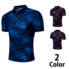 Fashion High Quality Men's T-shirt Printing Party Lapel Polos  Solid Mens POLO  Cotton Short Sleeve deep blue s  (45kg-50kg) 100%cotton