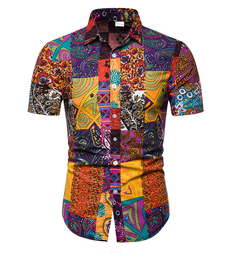 Mens Hawaiian Shirt Male Casual camisa masculina Printed Beach Shirts Short Sleeve brand YD-07 m (50kg-58kg)