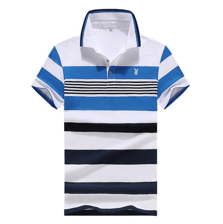 100% Cotton Matatu Dress Men Polo Shirt New Design 2018 Casual Striped Slim short sleeves Blue s  (45kg-50kg) 100%cotton