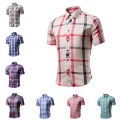 Cotton Printed Short Sleeve Men Shirt Brand Casual Turn-down Slim Fit Male Social Business  style Beige Red m  (50kg-58kg) 100%cotton