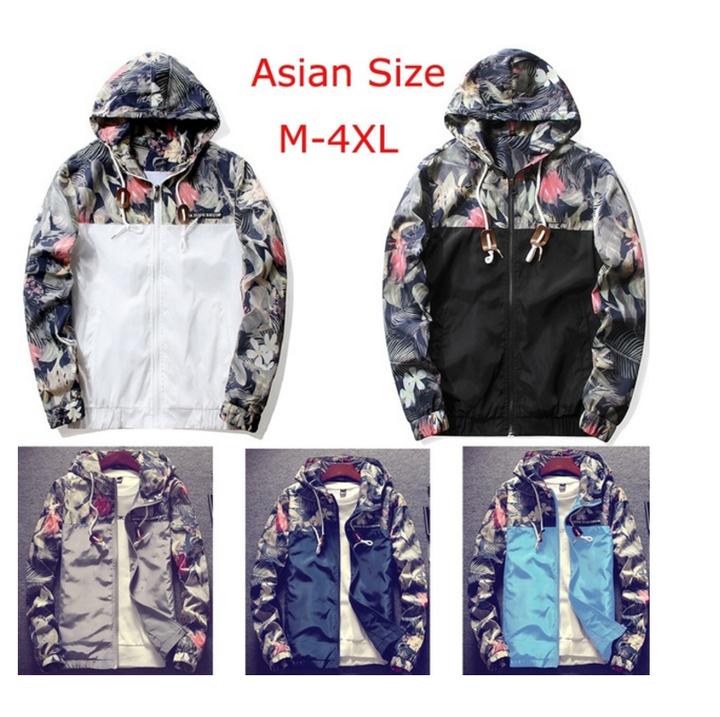 Mens Jacket Csual Thin Hooded Jacket Wind Breaker Hoodies Men Outdoor Wear Youth Fashion Loose Tops White S (45KG-50KG)