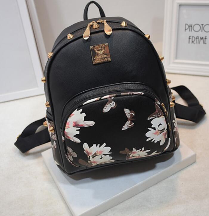 Women new Fashion Backpacks Travel Ladies Handbags School bags Printed,crazy purchase,Good Quality black1 free one