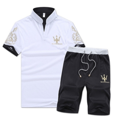 Fashion 2 Piece Set  Men's Short Sleeve Shorts New men's Casual Suit Short Pants tshirt White xxxl  (80kg-88kg) cotton