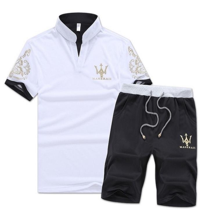 Fashion 2 Piece Set  Men's Short Sleeve Shorts New men's Casual Suit Short Pants tshirt White xxxl  (80kg-88kg) cotton