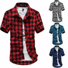 2019 New Summer Fashion Chemise Mens Checkered Shirts Short Sleeve Shirt Men Blouse Blue s (45kg-50kg)