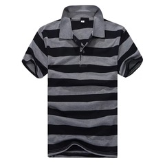 Men Clothes  Polo Shirt 2019  Business Casual Breathable  Striped Short Sleeve Pure Cotton Work Black l  (58kg-65kg) 100%cotton
