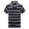 Men Clothes  Polo Shirt 2019  Business Casual Breathable  Striped Short Sleeve Pure Cotton Work Black l  (58kg-65kg) 100%cotton