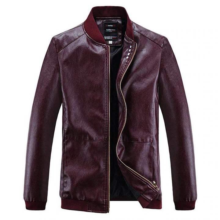 Fashion Motorcycle Pure Leather Jacket Men Plus Size, Brown Flash sale good quality Big promotion Red XXL (72KG-80KG)
