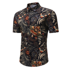 Men Shirt Summer Style Palm Tree Print Beach Hawaiian  Casual Short Sleeve Hawaii Chemise Homme TC-01 l (58kg-65kg)