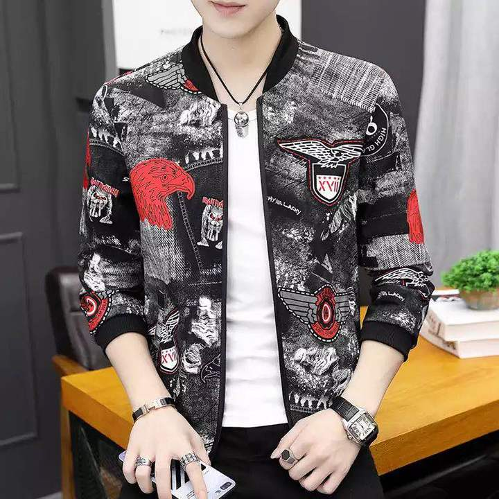 Printing Fashion 2019 Brand Mens Bomber Thin  Jackets Casual Shirt Coat Overcoat For Male Clothing Eagle s (45kg-50kg)