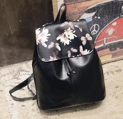 Herald Fashion Preppy Style School Backpack Artificial Leather Women Shoulder Bag Floral School Bag black1 free one