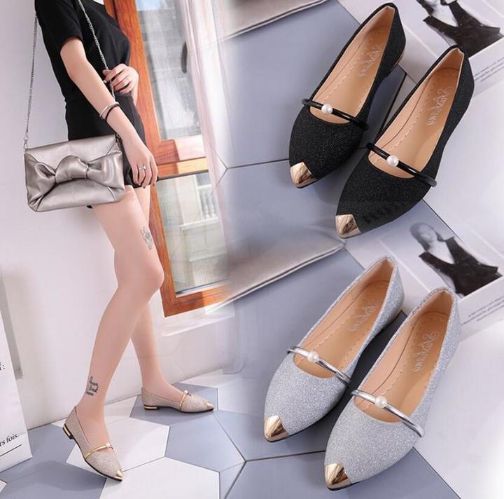 Matatu Flat Fashion Lady Shoes Women Shoes Pearl Comfortable Pointed Toe Flat Shoe Casual Women Boat black1 36 (uk 4)