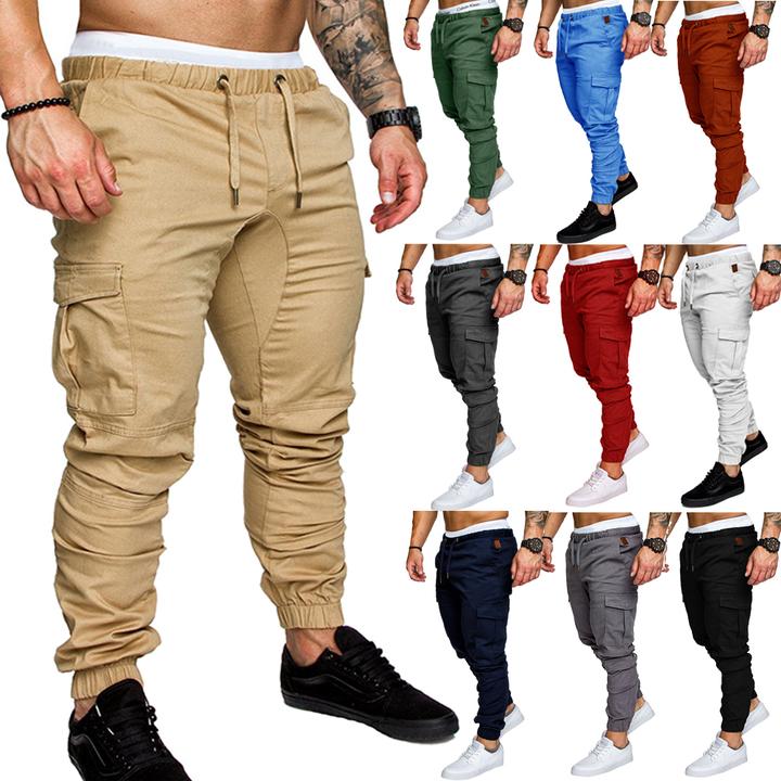 9 Colour ! Men Pants Hip Hop Harem Joggers Pants 2019  Male Trousers  Solid Multi-pocket  Sweatpants Khaki s ( see size table deatil)