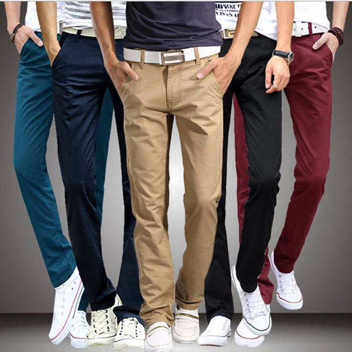 2019 New Casual Pants Men Cotton Slim Fit Chinos Fashion Trousers Male Clothing Plus Size 7 colour Beige m ( see size table deatil) 30