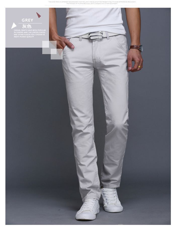 2019 New Casual Pants Men Cotton Slim Fit Chinos Fashion Trousers Male Clothing Plus Size 7 colour Gray 3xl ( see size table deatil) 36-38