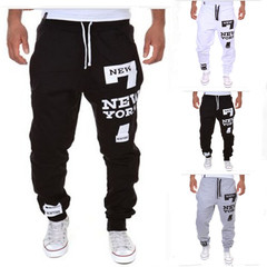 M-4XL Men's Jogger Dance Sportwear Baggy Casual Pants Trousers Sweatpants Dulcet Cool Black/White Black xl ( see size table deatil)