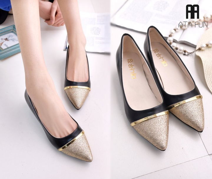 2019 Hot Fashion new Women Shoes Ballet Leather Lady shoes Casual Shoes pointed toe mouth shoes black 36 (uk 4)