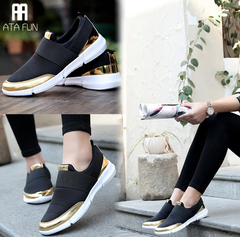 Big Size 35-42 Women Sneakers Brand Mesh Shoes Women shoes Slip on Casual Shoes Flats Shoes Stretch black 35(uk4.0)