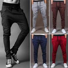 Men Pants Hip  Joggers Pants 2019 New Male Trousers Men Solid Multi-pocket Pants Sweatpants Black s ( see size table deatil)