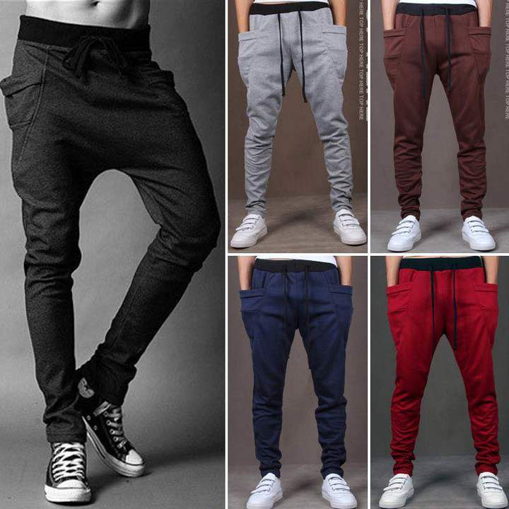 Men Pants Hip  Joggers Pants 2019 New Male Trousers Men Solid Multi-pocket Pants Sweatpants Black s ( see size table deatil) 28-30