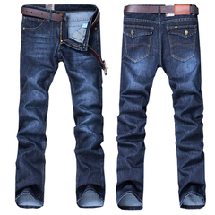 Men Stretchy Ripped Skinny Biker Embroidery Print Jeans Destroyed  Taped Slim Fit Denim Scratched Blue S ( see size table deatil)