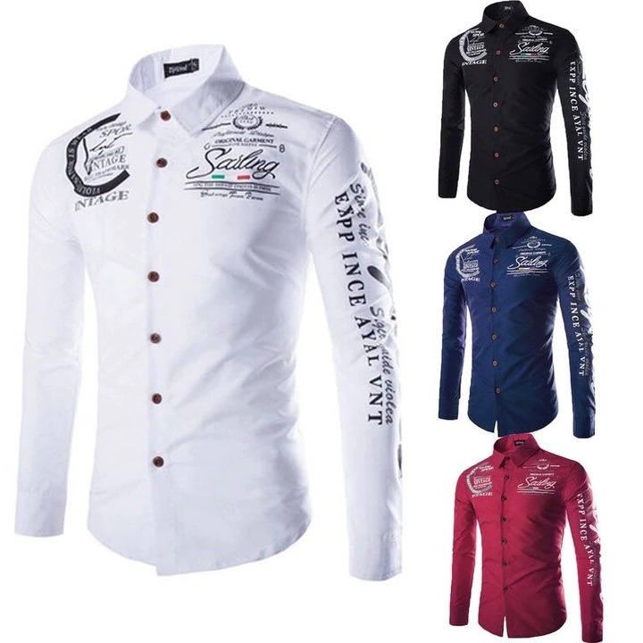 Men Fashion Floral Printed Long Sleeves Shirt - BLUE Color Contrasted  Dress ShirtsMen's Stylish red 5XL (OVER 100KG)