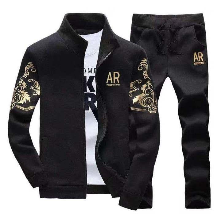 2019 Spring Fashion Mens Set Tracksuit  Set 2 Pieces Hooded Sweatshirt Male Jacket+SweatPant Casual Black XL  (65kg-72kg)