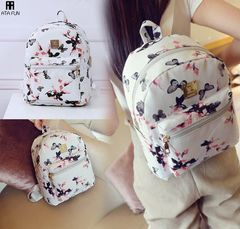 Fashion Floral Printing Women Leather Backpack School Bags for Teenage Girls Lady handbag women bag black2 free one