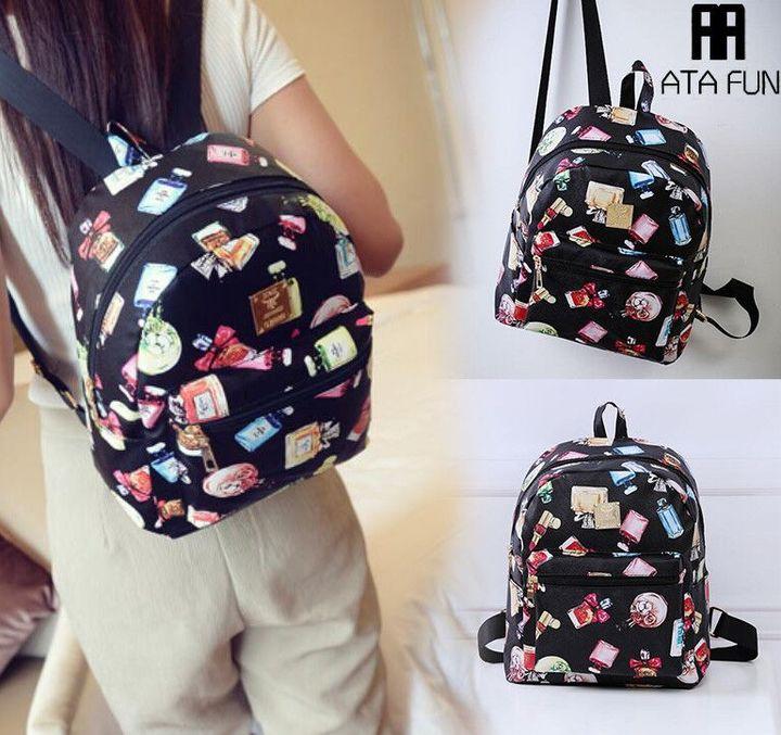 Fashion Floral Printing Women Leather Backpack School Bags for Teenage Girls Lady handbag women bag black2 free one