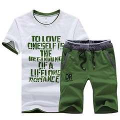 Matatu New men t-shirts Casual Pure-color Printed V-neck Suit Sports Short Sleeves  trousers pants Blue S (45kg-50kg) 100%cotton