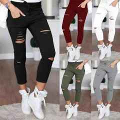 Plus Size Fashion Women Trousers Casual Hole Destroyed Knee Skinny Pencil women pants Stretch Ripped Black S ( Product detail table)