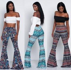 2019 plus size Bohemian Women trousers Fashion Sexy Floral Casual Long Pants High Waist women pants blue s (see product  detail table)