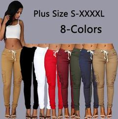 Plus size Fashion Drawstring Waist Tie up Women Multi-pocket Slim Pencil women pants Jeans Trousers black M(see product detail table)