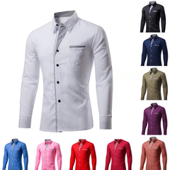 Cotton Spring Autumn Men Shirt Brand Causal Soid Long Sleeve Slim Fit  Male Formal Business Dress Blue S (45KG-50KG)